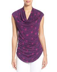 Halogen - Purple Drape Neck Sleeveless Top - Lyst