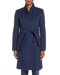 Ellen Tracy | Blue Belted Wool Blend Stand Collar Coat | Lyst