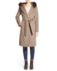 Ellen Tracy Brown Genuine Fox Fur Trim Long Hooded Wool Blend Coat