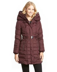 Kensie | Purple Belted Hooded Down & Feather Fill Coat | Lyst