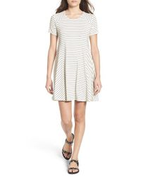 Lush | White Paneled Shift Dress | Lyst