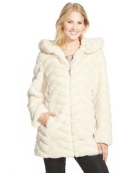Gallery | Natural Hooded Chevron Faux Fur Coat | Lyst