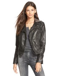 Free People | Black Hooded Faux Leather Moto Jacket | Lyst