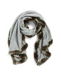 Badgley Mischka | Gray Faux Fur Trim Wrap | Lyst