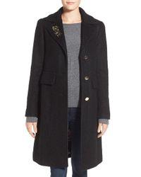 Eliza J | Black Embellished Boucle Reefer Coat | Lyst