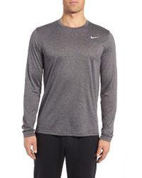Nike   Gray 'legend 2.0' Long Sleeve Dri-fit Training T-shirt for Men   Lyst