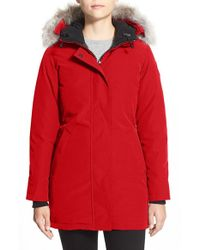 Canada Goose | Red Victoria Down Parka With Genuine Coyote Fur Trim | Lyst