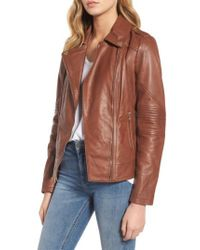 Guess - Brown Leather Moto Jacket - Lyst