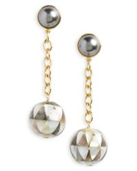 Tory Burch - Metallic Linear Drop Earrings - Lyst