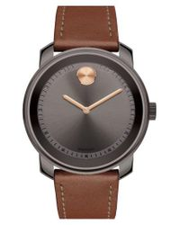 Movado - Multicolor 'bold' Leather Strap Watch for Men - Lyst