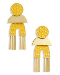 Madewell Yellow Geo Enamel Earrings