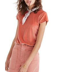 Madewell - Pink Velour Tee - Lyst