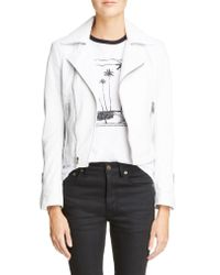 Saint Laurent White Leather Moto Jacket