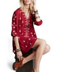 Free People | 'star Gazer' Embroidered Tunic Dress | Lyst