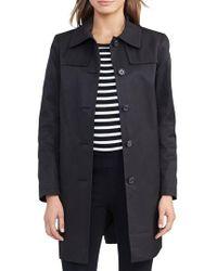 Lauren by Ralph Lauren - Black Cotton Blend Trench Coat - Lyst