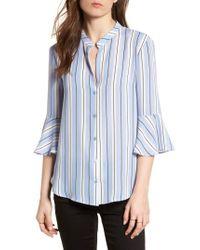 Nordstrom - Blue Print Bell Sleeve Shirt - Lyst