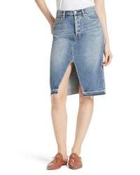 Free People - Blue Front Slit Denim Skirt - Lyst
