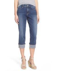 NYDJ | Blue 'dayla' Colored Wide Cuff Capri Jeans | Lyst