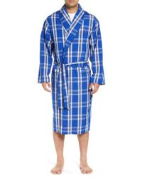 Polo Ralph Lauren - Blue Plaid Cotton Robe for Men - Lyst