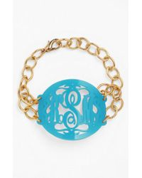 Moon & Lola - Blue 'annabel' Large Oval Personalized Monogram Bracelet (nordstrom Exclusive) - Lyst