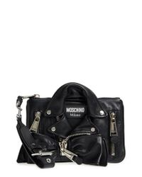 Moschino - Black Biker Jacket Leather Wristlet - Lyst