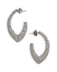 Jenny Packham - Metallic Pave Marquise Hoop Earrings - Lyst