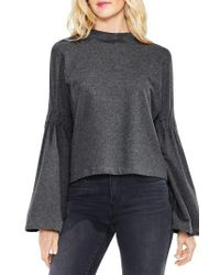 Two By Vince Camuto | Gray Mock Neck Bell Sleeve Top | Lyst