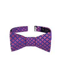 Ted Baker - Blue Small Flower Silk Bow Tie for Men - Lyst