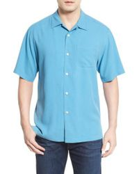 Tommy Bahama - Blue 'catalina Twill' Short Sleeve Silk Camp Shirt for Men - Lyst