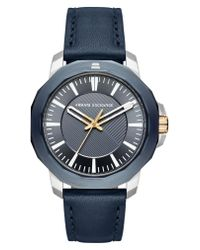 Armani Exchange - Blue Three-hand Leather Strap Watch for Men - Lyst