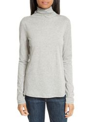 Theory - Gray Cotton & Cashmere Turtleneck - Lyst