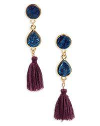 Panacea | Blue Drusy Quartz Tassel Earrings | Lyst