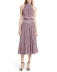 Diane von Furstenberg - Purple High Neck Silk Dress - Lyst