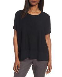 Eileen Fisher | Black Tencel & Merino Wool Top | Lyst