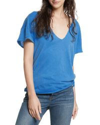 Free People | Blue Lilly Side Tie Tee | Lyst