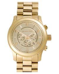 MICHAEL Michael Kors | Metallic Michael Kors 'large Runway' Chronograph Bracelet Watch for Men | Lyst