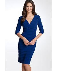 Adrianna Papell | Blue Pleated Jersey Sheath Dress | Lyst
