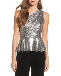 Eliza J - Metallic One-shoulder Sequin Peplum Top - Lyst