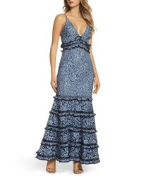 Keepsake - Blue Catch Me Ruffle Lace Trumpet Gown - Lyst