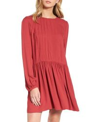 Hinge | Red Pintuck Minidress | Lyst