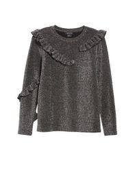 Trouvé - Gray Ruffle Metallic Top - Lyst