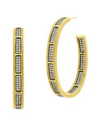 Freida Rothman - Metallic All Around Cubic Zirconia Hoops - Lyst