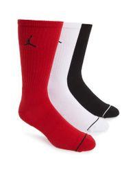Nike Red Jumpman 3-pack Dry Crew Socks, Black for men