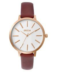 Breda | Metallic Joule Round Leather Strap Watch | Lyst