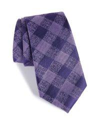 Calibrate - Purple Tigrane Check Silk & Cotton Tie for Men - Lyst