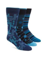 Bugatchi | 3-pack Mixed Pattern Socks, Blue for Men | Lyst