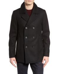 Ted Baker - Black Zachary Trim Fit Double Breasted Peacoat for Men - Lyst