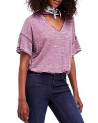 Free People - Pink Jordan Burnout Tee - Lyst