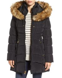 Laundry by Shelli Segal - Black Hooded Down & Feather Fill Coat With Detachable Faux Fur Trim - Lyst