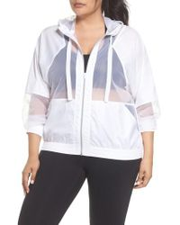 Zella - White Sheer Mix Jacket - Lyst